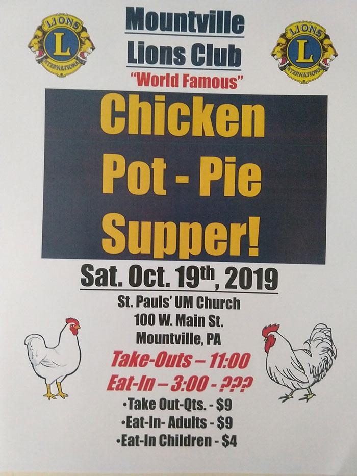 Mountville Lions Club Chicken Pot Pie