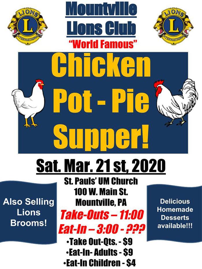 Mountville Lions Club Chicken Pot Pie Supper